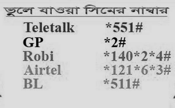 GrameenPhone,Banglalink,Airtel,Robi,Teletalk সিমের নাম্বার।