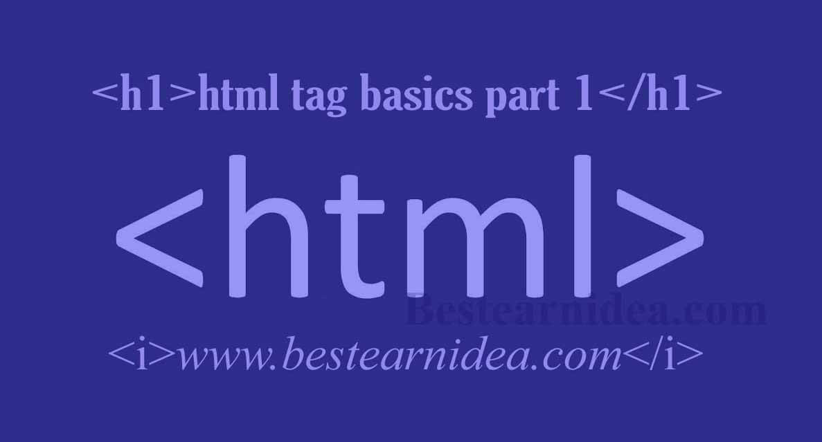 html tag basics part 1