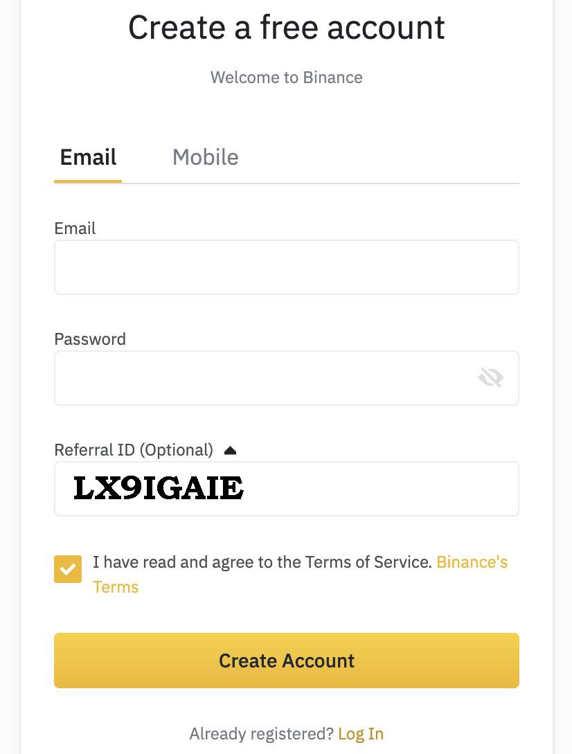 Binance-Account page
